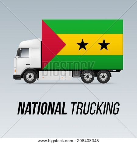 Symbol of National Delivery Truck with Flag of Sao Tome and Principe. National Trucking Icon and flag design