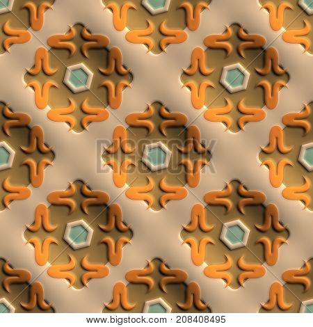 3D render of plastic background tile with embossed abstract renaissance ornament
