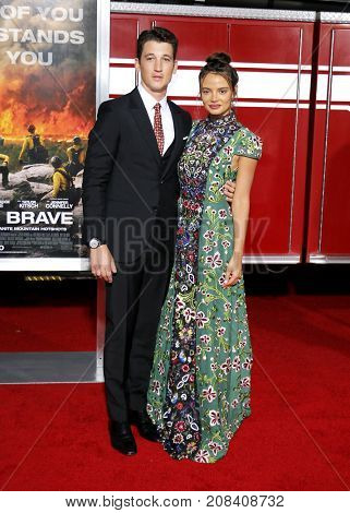 Miles Teller and Keleigh Sperry at the Los Angeles premiere of 'Only The Brave' held at the Regency Village Theatre in Westwood, USA on October 8, 2017.