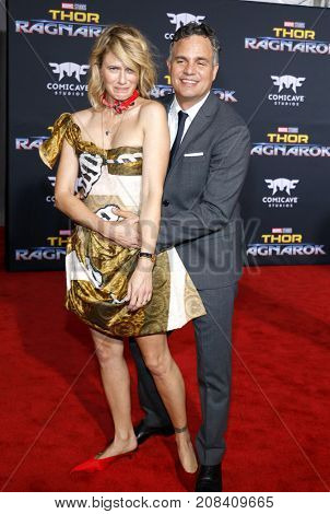 Mark Ruffalo and Sunrise Coigney at the World premiere of 'Thor: Ragnarok' held at the El Capitan Theatre in Hollywood, USA on October 10, 2017.
