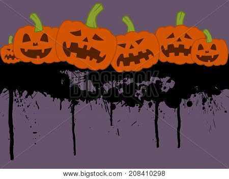 Halloween concept with group of pumpkin on a bloody background vector illustration