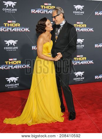Tessa Thompson and Jeff Goldblum at the World premiere of 'Thor: Ragnarok' held at the El Capitan Theatre in Hollywood, USA on October 10, 2017.