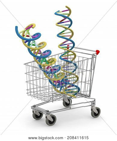 Shopping Cart With Two Dna Molecule Inside