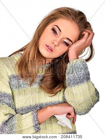 Woman with migraine holding kleenex. Colds and flu as well as other diseases injurious to health. Adult human with temperature suffering headache. Seasonal female depression. Poor immunity.