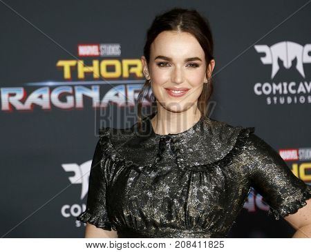 Elizabeth Henstridge at the World premiere of 'Thor: Ragnarok' held at the El Capitan Theatre in Hollywood, USA on October 10, 2017.
