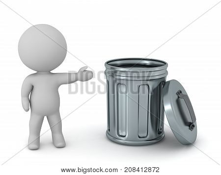 3D character showing a metallic trash can. Isolated on white background.