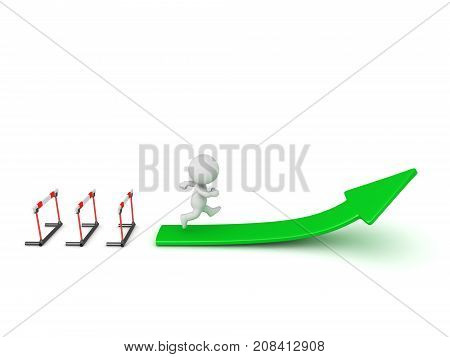 3D character running past obstacles and toward an ascending arrow. Isolated on white background.