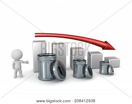 3D character showing a chart indicating decline of amount of trash. Isolated on white background.