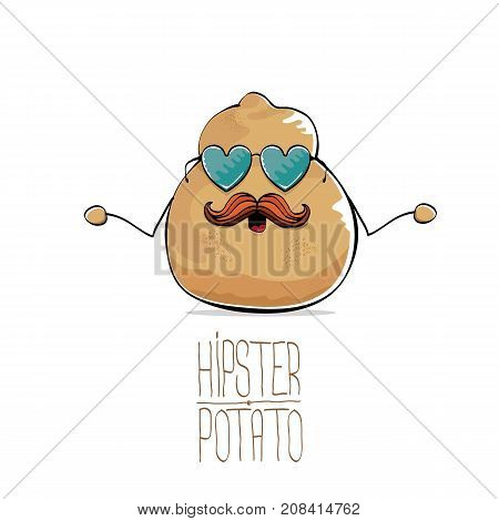vector funny cartoon cute brown old hipster grandpa bald potato with funny mustache and heart shape sunglasses isolated on white background. My name is potato vector concept. vegetable funky character