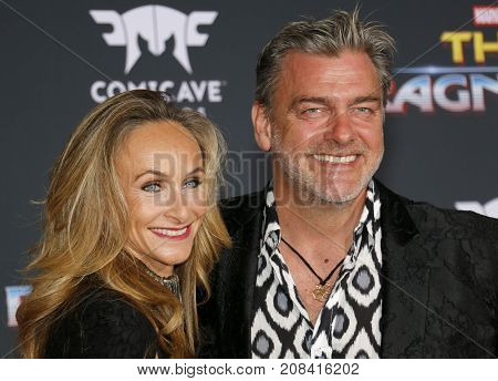 Elisabetta Caraccia and Ray Stevenson at the World premiere of 'Thor: Ragnarok' held at the El Capitan Theatre in Hollywood, USA on October 10, 2017.