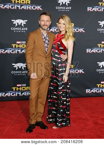 Chris Hardwick and Lydia Hearst at the World premiere of 'Thor: Ragnarok' held at the El Capitan Theatre in Hollywood, USA on October 10, 2017.
