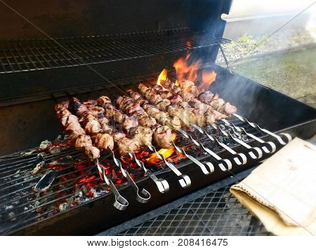 shashlik Shish kebab a dish of lamb chopped skewered and roasted on charcoal in a barbecue