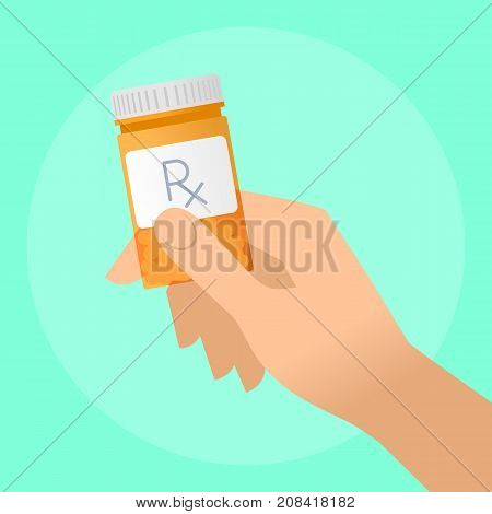 Human hand holds orange pills container. Flat illustration of doctor's hand bottle with cure and drug. Medicine, medical exam and diagnosis concept. Vector design elements for web, internet.