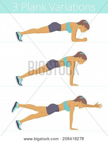Beautiful white young women are doing the plank exercises. Flat illustration of caucasian sporty girls are training in the various plank position: forearm, push up, two-point. Vector active people set