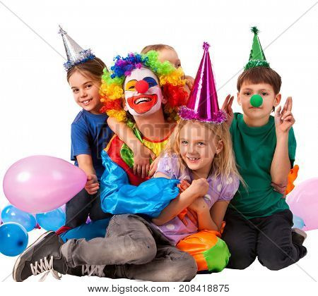 Birthday child clown playing with children and bunny fingers prank. Kid holiday cakes celebratory and balloons the happiest birthday. Weekends in orphanage.