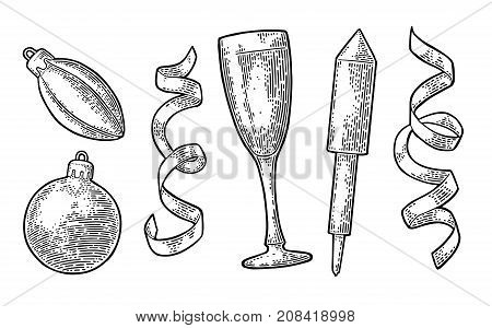 Merry Christmas and Happy New Year set. Toy, serpentine, firework rocket, champagne glass, . Vector vintage black engraving illustration isolated on white