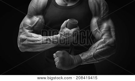 Strong Hands And Fist, Ready For Training And Active Exercise Close-up Photo Of Strong Man Wrap Hand