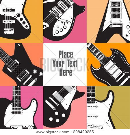 Eight guitars frame this white space for your text