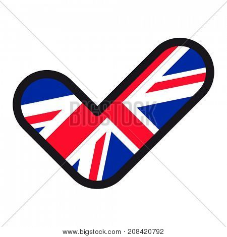 Flag of UK in the shape of check mark, sign approval, symbol of elections, voting.