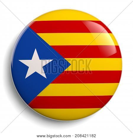 Catalonia flag badge isolated icon on white. Clipping path included for easy selection.