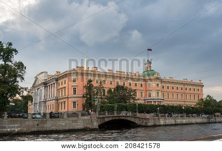ST PETERSBURG, RUSSIA - SEPTEMBER 12: St Michael's Castle on September 12, 2017 in St Petersburg, Russia. The castle was finished in 1800.