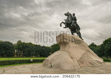 The Bronze Horseman statue in senate square in St Petersburg, Russia. The statue was completed in 1782.