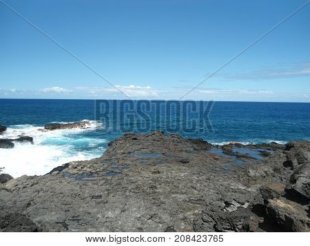View of hardened volcanic lava in Indian ocean