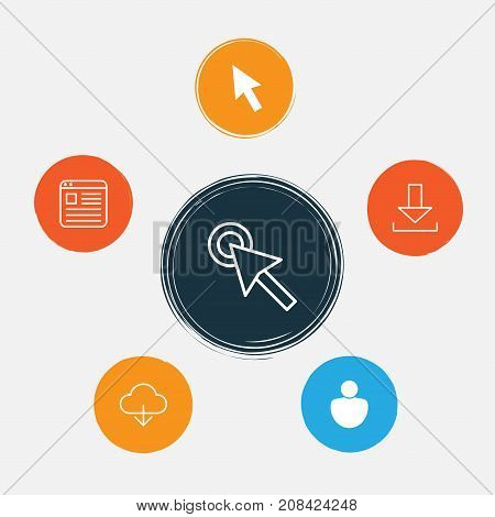 Connection Icons Set. Collection Of User, Cursor, Down Arrow And Other Elements