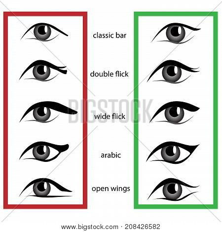 Various types of woman eyes with eyeliner on white background. Set of different vector eye shapes. Bad and good makeup. Collection of illustrations with captions. Makeup type info graphic.
