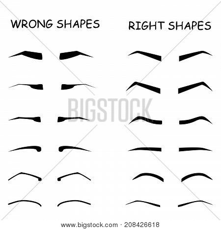 How to paint the eyebrows. Female brows vector elements set. Wrong and right shapes.