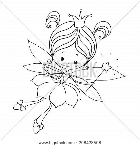 Lovely Character Doodle. Fairy Cartoon For Coloring Book. Cute Fairy On A White Background. Hand Dra