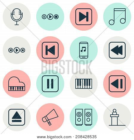 Audio Icons Set. Collection Of Rostrum, Skip Song, Mike And Other Elements