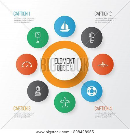 Delivery Icons Set. Collection Of Sailboat, Railway, Flight Basket And Other Elements