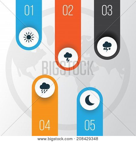 Climate Icons Set. Collection Of Flash, Moon, Lightning And Other Elements
