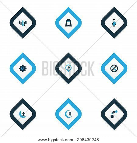 Ramadan Colorful Icons Set. Collection Of Moon, Hajj, Religious And Other Elements