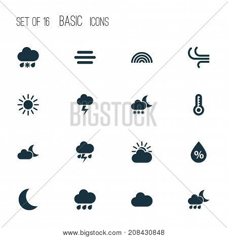 Weather Icons Set. Collection Of Breeze, Haze, Wet And Other Elements