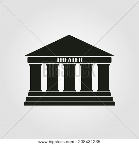 Theater icon on a grey background. Vector illustration.