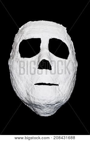 White Ghost face mask for Halloween with black background