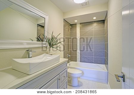 Freshly Renovated Bathroom Features Shower Tub Combo