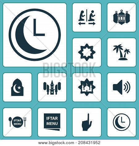 Religion Icons Set. Collection Of Tree, Bullhorn, Time And Other Elements