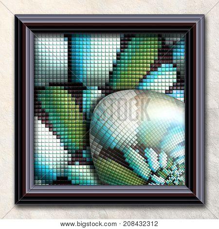 3D rendering combo artwork with puff pixels fractal and fractal elipsoid buttons in elegant frame