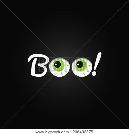 Boo. Halloween Lettering With Eyes Design Background.