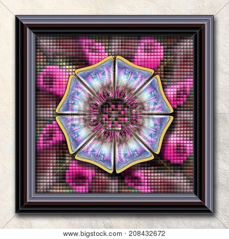 3D rendering combo artwork with puff pixels fractal and fractal flower button in elegant frame