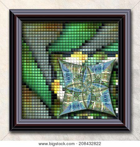 3D rendering combo artwork with puff pixels fractal and fractal star buttons in elegant frame