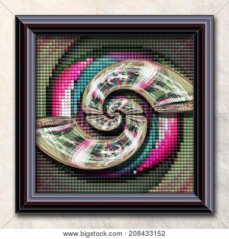 3D rendering combo artwork with puff pixels fractal and spiral  fractal buttons in elegant frame