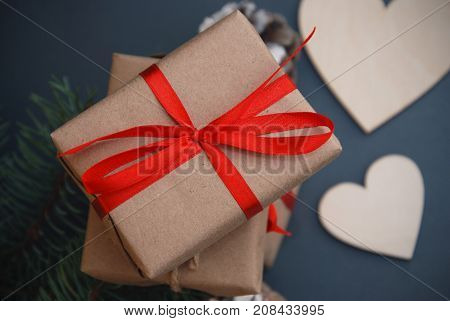 Handmade Gift Boxes with heart Shape. Christmas fir. Hollyday concept.