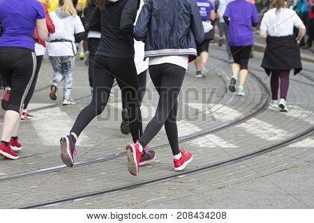 Marathon running race on the city road