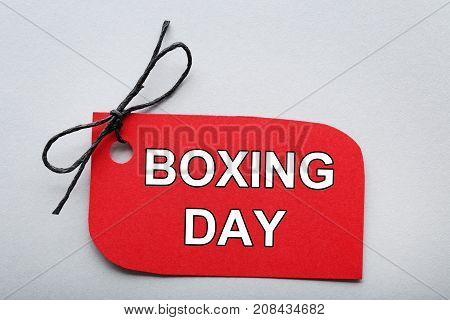 Red Sale Tag With Inscription Boxing Day On Grey Background
