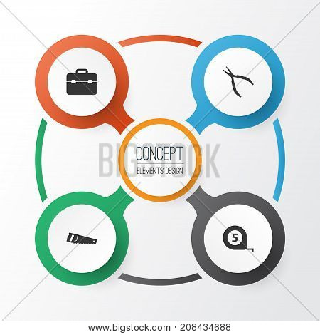 Repair Icons Set. Collection Of Toolkit, Handsaw, Meter Elements