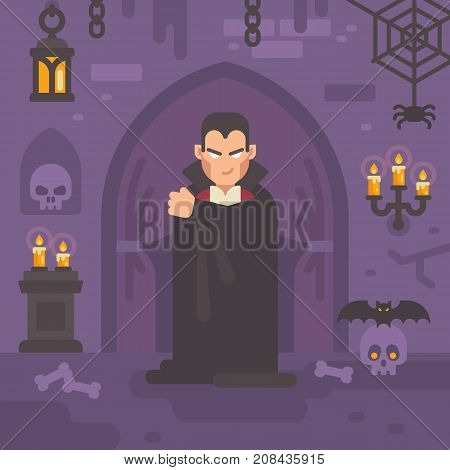 Vampire In A Dark Crypt With Skulls And Bats. Trick Or Treat. Halloween Flat Illustration